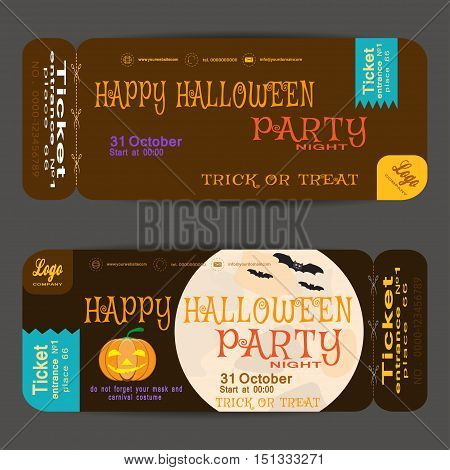 Ticket to a Halloween party on the brown background vector illustration.