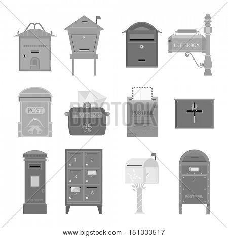Post mail box vector set.
