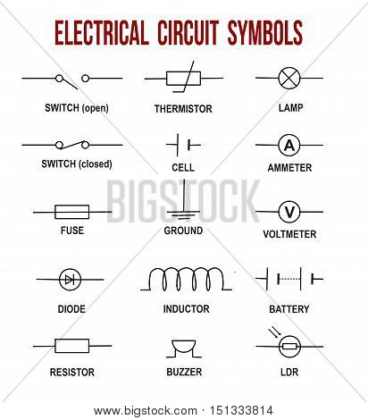 Electrical circuit symbols on white background (Helpful for basic Education & Schools), vector illustration