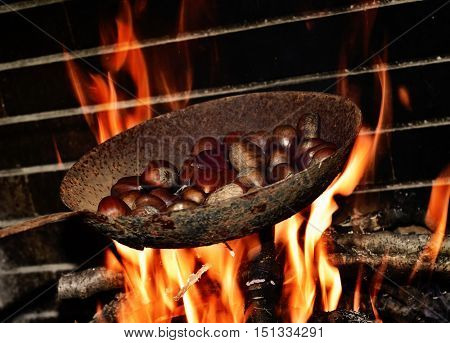 closeup of a pan with chestnuts being roasted in the flames of a log fire