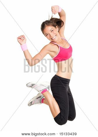 Pérdida de peso Fitness mujer saltando