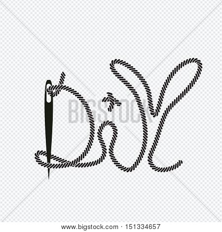word diy from needle with thread vector background illustration