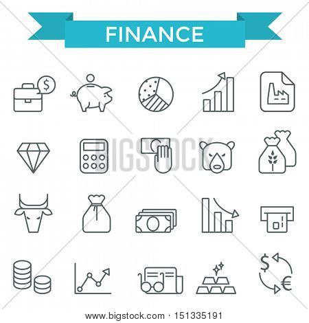Finance icons, thin line style, flat design