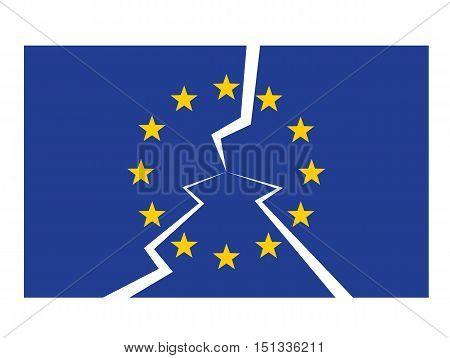 european union flag cracked as eu disintegaration crisis concept vector illustration