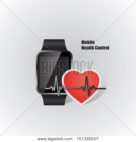 mobile device smartwatch with heart beat symbol as online health control vector illustration