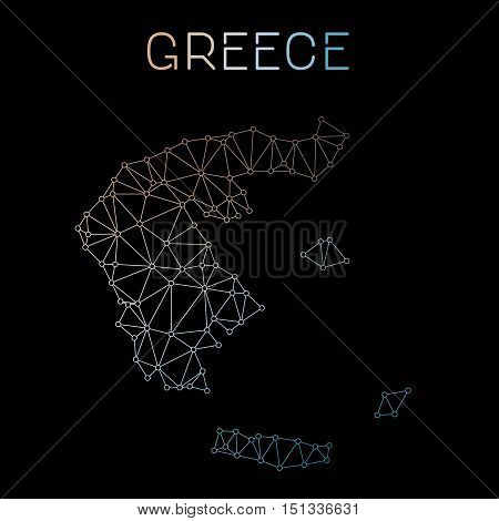 Greece Network Map. Abstract Polygonal Map Design. Network Connections Vector Illustration.