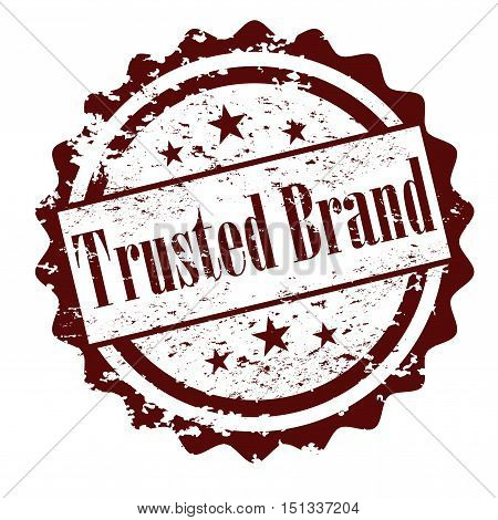 Trusted brand rubber stamp isolated on white background