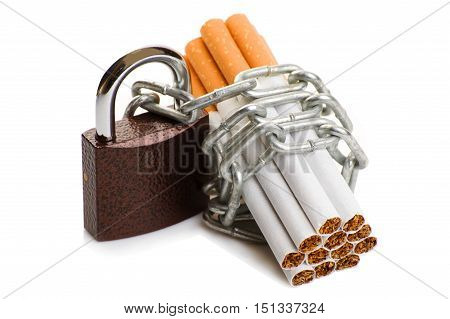 cigarette with chain and padlock. concept stop smoking