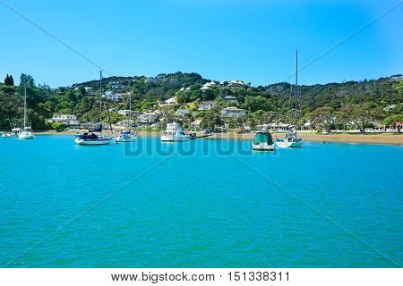 View Of Boats At The Harbour In Russell, New Zealand