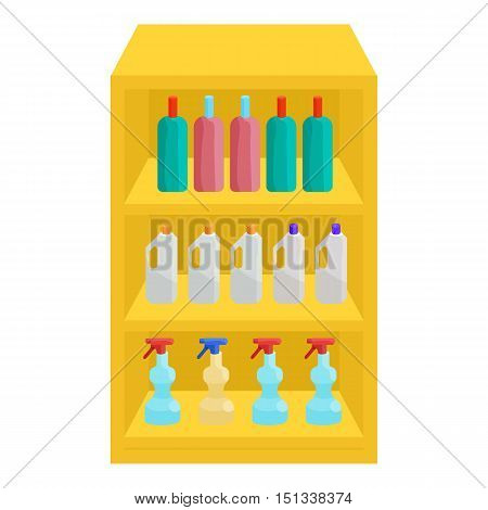 Shelves in shop with chemicals icon. Cartoon illustration of shelves with chemicals vector icon for web
