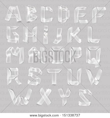 set of letters of the alphabet of adhesive transparent tape