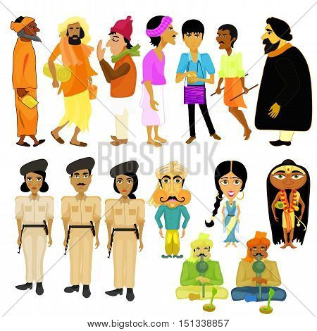 Indian citizens set different policeman vector illustration