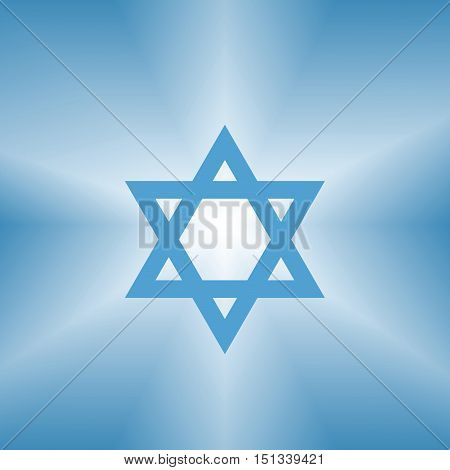 shining jewish david star abstract blue background