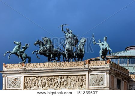 Bronze Quadriga Depicting The