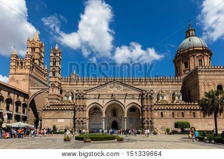 PALERMO ITALY - AUGUST 7 2016: Palermo Cathedral built in 1179-85 is characterized by the presence of different styles due to a long history of additions alterations and restorations.