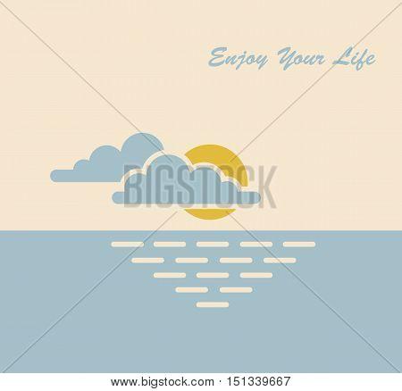 sun sea clouds nature enjoying vector symbol illustration