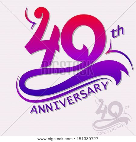 40th Year Anniversary Design, Template celebration sign. Vector