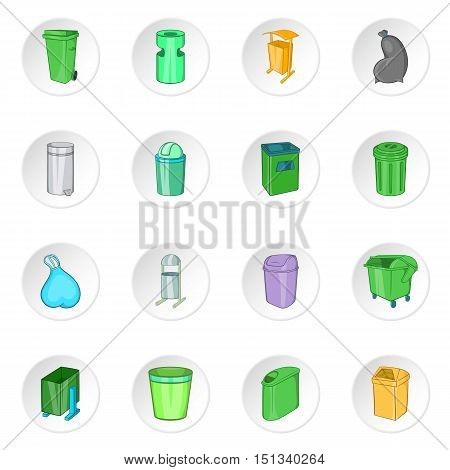 Trash can icons set. Cartoon illustration of 16 trash can vector icons for web