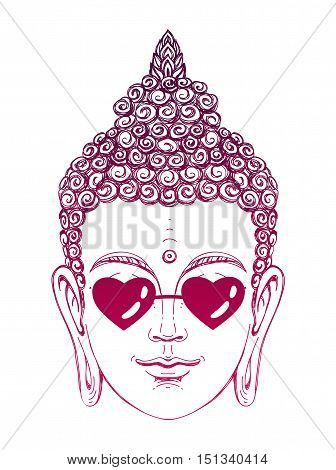 Portrait of a Buddha wearing glasses in the shape of hearts. Vector illustration on white background. The esoteric concept. The spiritual art. Thai god. Excellent ethnic print on a T-shirt.