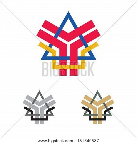 abstract company emblem with letter Y A elements vector illustration