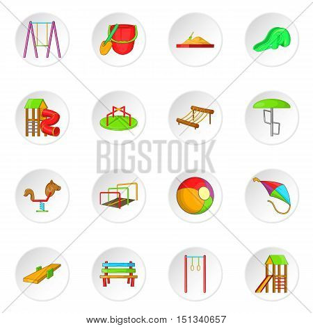 Children playground icons set. Cartoon illustration of 16 children playground vector icons for web