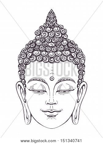 Portrait of a Buddha. Vector illustration on white background. The esoteric concept. The spiritual art. Thai god. Excellent ethnic print on a T-shirt.