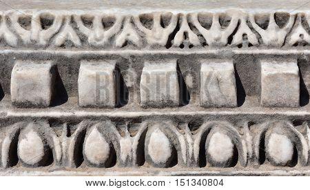 Detail of an ancient temple frieze in Roman Forum