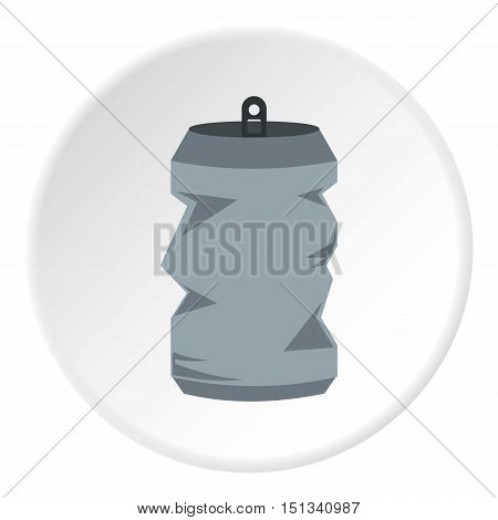 Crumpled aluminum can icon. Flat illustration of can vector icon for web design