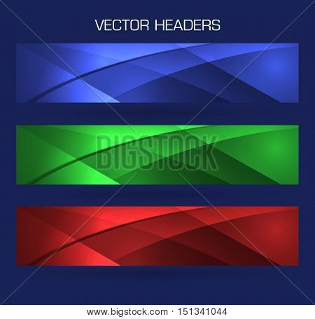 abstract headers footers set vector background illustration