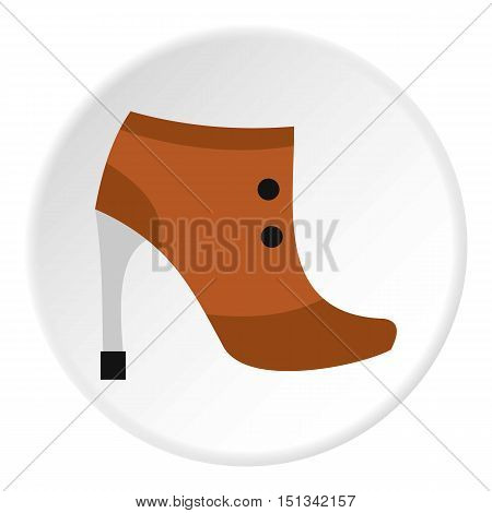 Brown boot with high heel icon. Flat illustration of shoe vector icon for web design