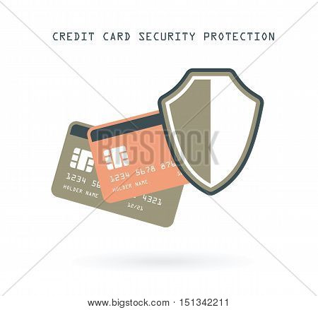credit cards security financial protection online banking concept vector illustration bright background
