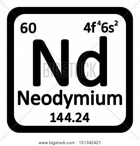 Periodic table element neodymium icon on white background. Vector illustration.