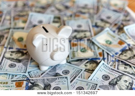 pig money box and cash