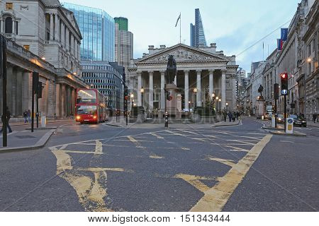 LONDON UNITED KINGDOM - NOVEMBER 23: The Royal Exchange in London on NOVEMBER 23 2013. Historic Building of Royal Exchange at Bank Junction in London United Kingdom.