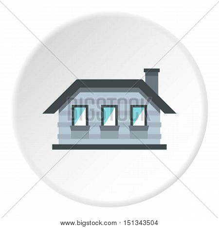 One storey house with three windows icon. Flat illustration of one storey house with three windows vector icon for web