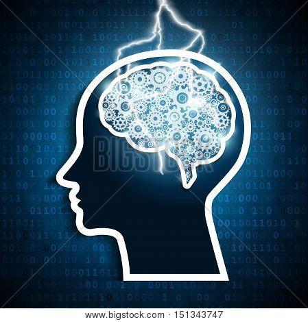 Lightning bolt strike in the human brain gears. Intelligence concept.
