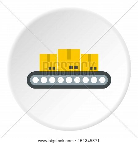 Belt conveyor with load icon. Flat illustration of belt conveyor with load vector icon for web
