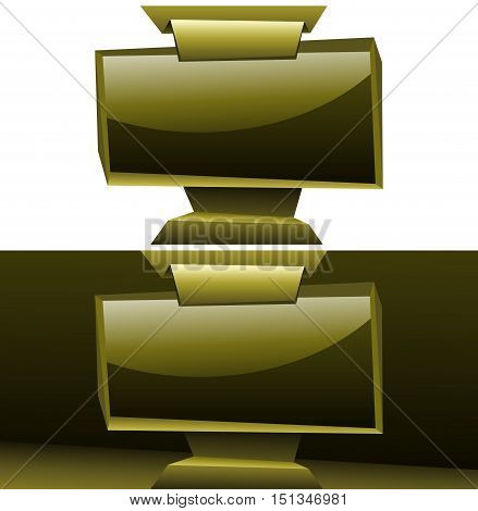 shining golden widescreen display panelboard isolated origami vector background for designs eps10