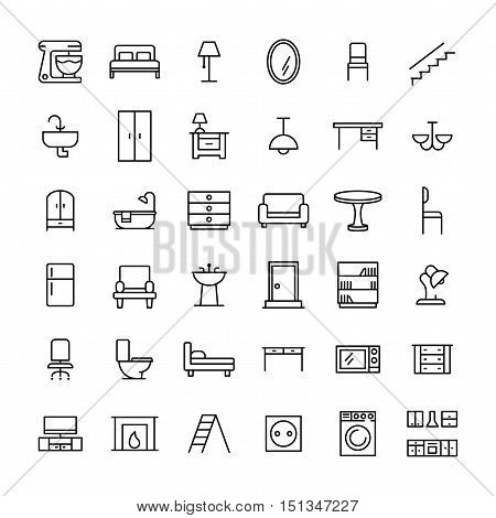 Set of furniture icons in modern thin line style. High quality black outline home symbols for web site design and mobile apps. Simple linear interior pictograms on a white background.