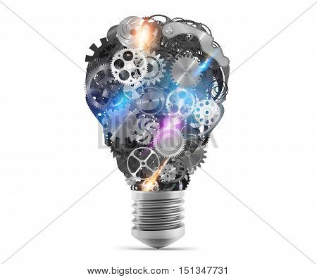 Big bulb light with mechanisms and gears. 3d rendering
