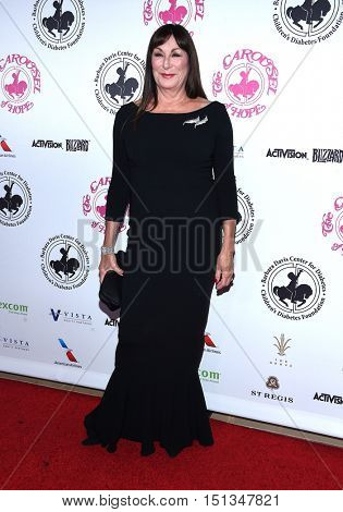 LOS ANGELES - OCT 8:  Anjelica Huston arrives to the Carousel of Hope 2016 on October 8, 2016 in Hollywood, CA