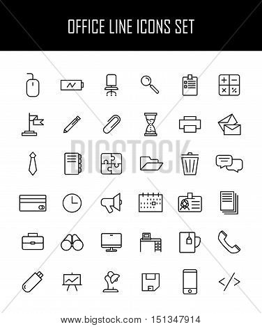 Set of office icons in modern thin line style. High quality black outline business symbols for web site design and mobile apps. Simple linear office pictograms on a white background.