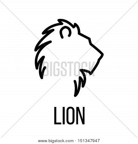 Lion icon or logo in modern line style. High quality black outline pictogram for web site design and mobile apps. Vector illustration on a white background.