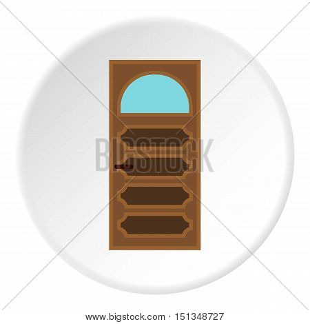 Carved door icon. Flat illustration of carved door vector icon for web