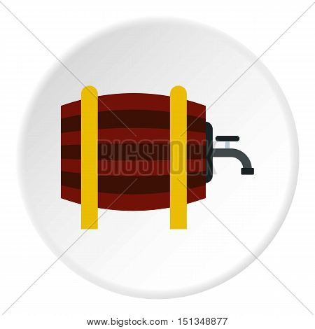 Beer barrel in pub icon. Flat illustration of beer barrel in pub vector icon for web