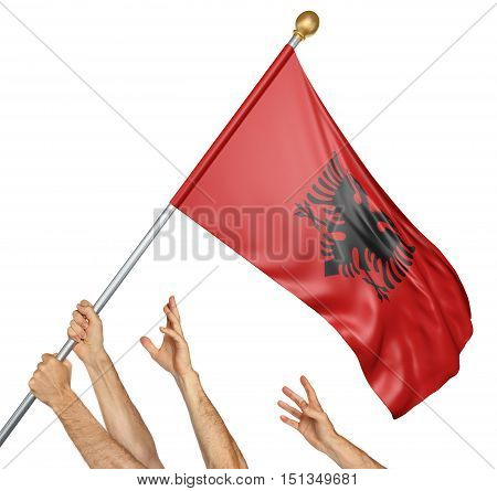 Team of peoples hands raising the Albania national flag, 3D rendering isolated on white background