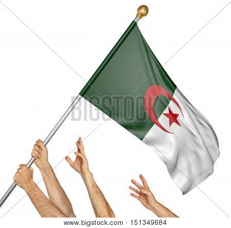 Team of peoples hands raising the Algeria national flag, 3D rendering isolated on white background