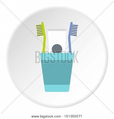 Cup with toothbrushes and toothpaste icon. Flat illustration of cup with toothbrushes and toothpaste vector icon for web