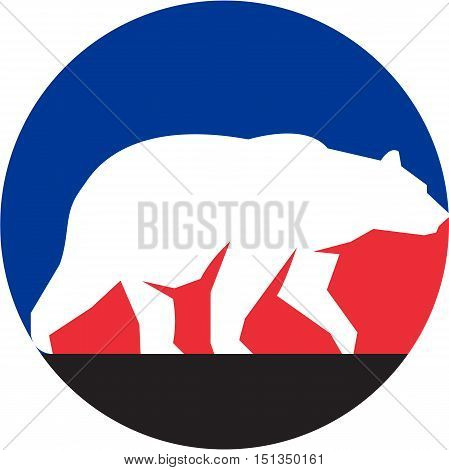 Illustration of a silhouette of a grizzly brown bear walking viewed from the side set inside circle done in retro style.