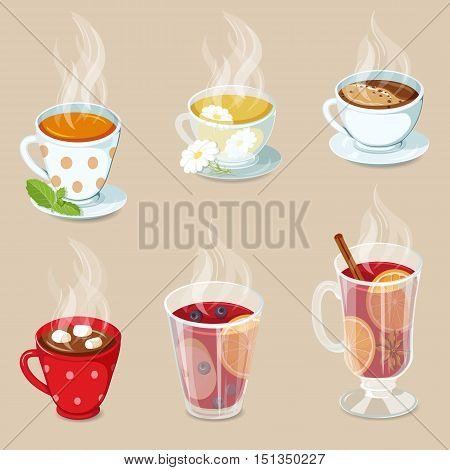 Hot drinks icons set. Cocoa with marshmallows, tea, coffee, hot chocolate, mulled wine and punch with fruit. Christmas hot drinks collection. Hot drinks vector illustration